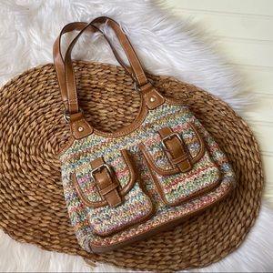 Small colorful rattan bag purse